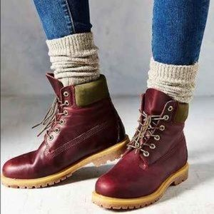 Timberland Burgundy & Green Leather Lace Up Boots 6.5